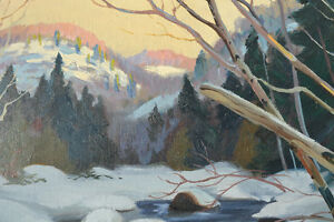 LISTED ARTIST TOM HALL OIL ON BOARD WINTER PAINTING EXCELLENT Gatineau Ottawa / Gatineau Area image 4