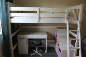 Twin size Loft Bed with Angle Ladder