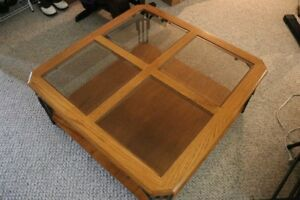 oak coffee table, 2 end tables