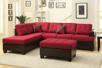 NEW! Red Linen Sectional Sofa! FREE DELIVERY!