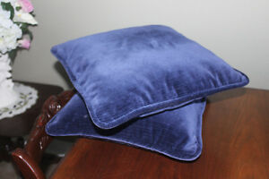 2 Navy Velvet Zippered Pillows