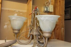 Taupe w/Frosted glass 3 light Chandelier