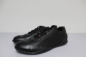PRADA SPORT SHOES - BLACK LEATHER WITH NEW RUBBER SOLE