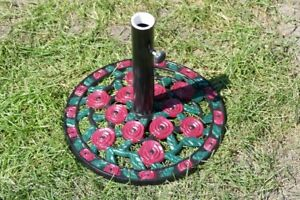 Cast Iron Umbrella Base or Stand with Red Roses and Green Leaves