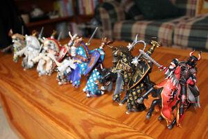7 Schleich Knights on horses