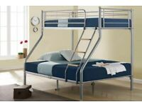 Trio Sleeper Metal Bunk Bed Frame in silver Color - Double Bottom Single Top Mattress Options
