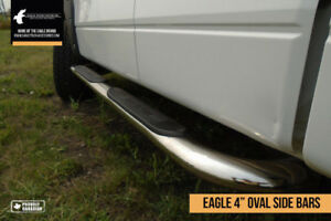 "Premium 4"" Stainless Steel Oval Side Step Bars - FREE SHIPPING!"