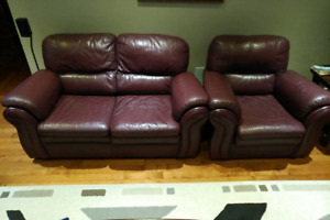 Top Grain Leather Sofa , Loveseat and Chair $500