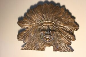 "1970's Indian Chief Bronze Belt Buckle 4 1/2"" (VIEW OTHER ADS)"