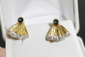 NEW STAMPED 14K. GOLD SAPPHIRE & DIAMOND FAN SHAPE EARRINGS