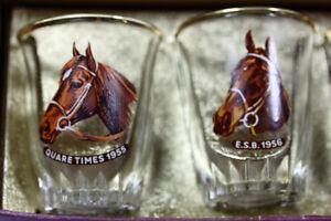 6 Vtg Shot Glasses Grand National Horse Race winners 1955 -1960 Kingston Kingston Area image 3