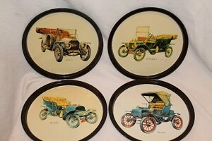 4 metal antique car trays