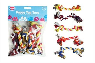 WORLD OF PETS PUPPY TUG TOY PACK OF 5
