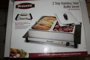 BRAVETTI stainless steel buffet server 2 TRAYS
