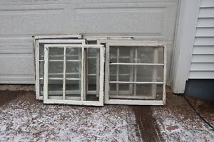 """Vintage Windows, 3 Pane, 6 available, approximately 27"""" x 23"""","""