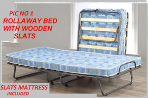 BRAND NEW ROLL AWAY  BED WITH WOODEN SLATS MATTRESS INCLUDED...
