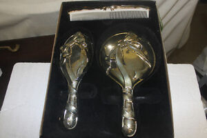 New Silver Bureau / Dresser Set ( comb, brush & mirror )