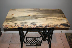 Live Edge Table Top on 1908 Singer Sewing Machine Base