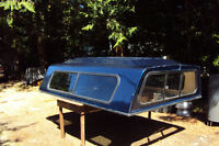 BLUE FIBERGLASS TRUCK CANOPY, for fullsize pickup