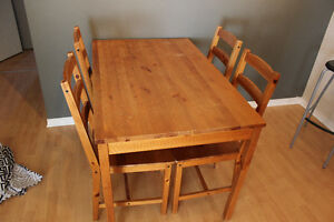 Used Ikea table + 4 chairs 35.$ and 2 Ikea bar stools 25.$
