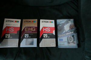 Lot of 3 VHS T-120 tapes & Head cleaner kit