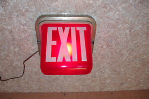 Vintage Kopp Industrial Illuminated Red Glass Exit Sign Light London Ontario image 2