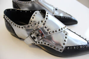 SERGIO ROSSI DESIGNER BLACK LEATHER SILVER STUDDED OXFORD SHOES