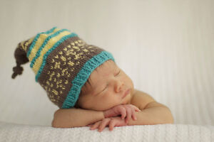 Newborn Photography Prop Destash Hand Knit Hat