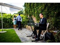 Pianist for weddings & events - with white piano shell