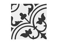 Black and white Victorian style PORCELAIN tiles