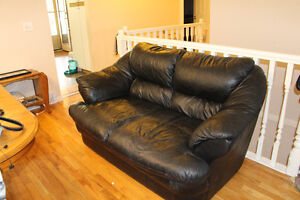 Leather, sofa, chair and loveseat