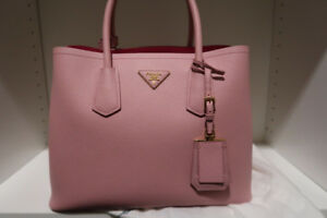 Prada Saffiano Cuir Double tote Bag 30cm (Pink;Saffiano Leather)