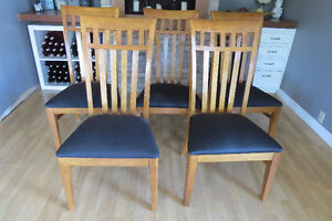 Large Solid Wood Dining Table with Five Chairs