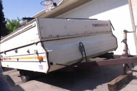 tent trailer ready for conversion to utility trailer