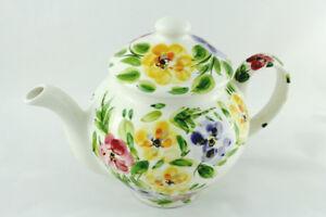 Tabletops Gallery Rose Prairie Handpainted Large Teapot
