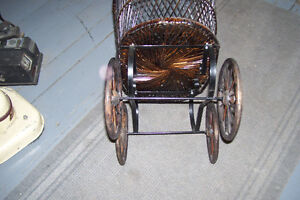 1800s PLASTER DOLL WITH PERIOD WICKER DOLL CARRIAGE London Ontario image 5