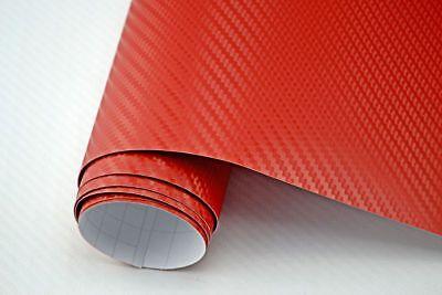 5,64€/m²  3D Carbon Folie rot blasenfrei 500 x 152cm Klebefolie Carbon Optik
