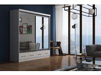 2 Door Or 3 Door Wardrobes-- Brand New MARGO 2 Door Sliding German Wardrobe With 3 Drawers