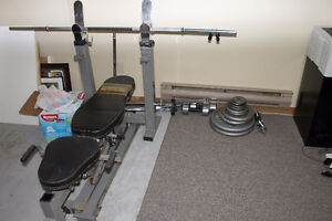Weight bench, rack, bar, and plates