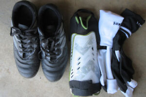 Kids Soccer shoes, socks and shin pads