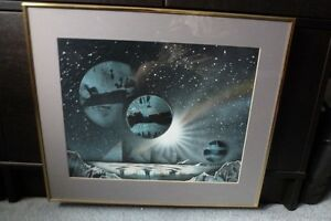 Framed matted spray paint urban artwork planets space stars