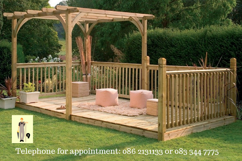 Pergola with decking €1499.99 without roof, €1999.99 with roof