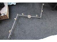 2x Brushed steel nickel, 6 GU10 lamp bar spotlight