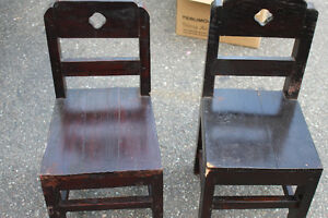 pair of toddler size wooden chairs