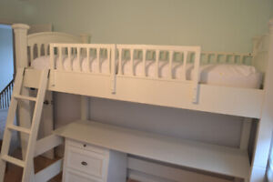 Kids Sleep and Study Loft Bed with 3 drawer Side Dresser