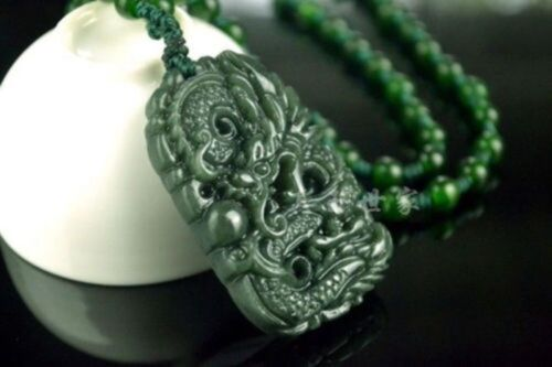 Chinese Natural Green Hand-carved Hetian Jade Pendant necklace Dragon