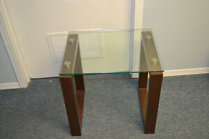 DECORATIVE END TABLE W/ TEMPERED GLASS TOP for sale