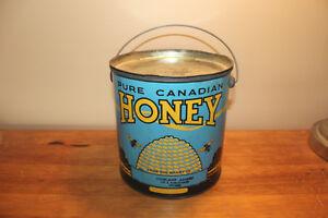 Vintage Large Blue Canadian Honey Tin London Ontario image 1