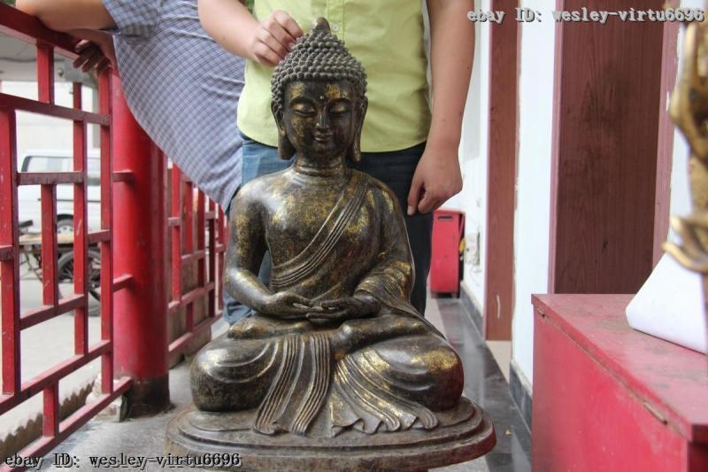 China Tibet Old Temple Bronze Copper Amitabha Tathagata Sakyamuni Buddha Statue