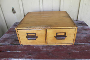 Vintage Wooden Two Drawer Card Filing Cabinet